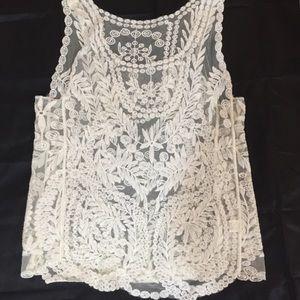 Tops - Sheer beige lace top -beautiful!
